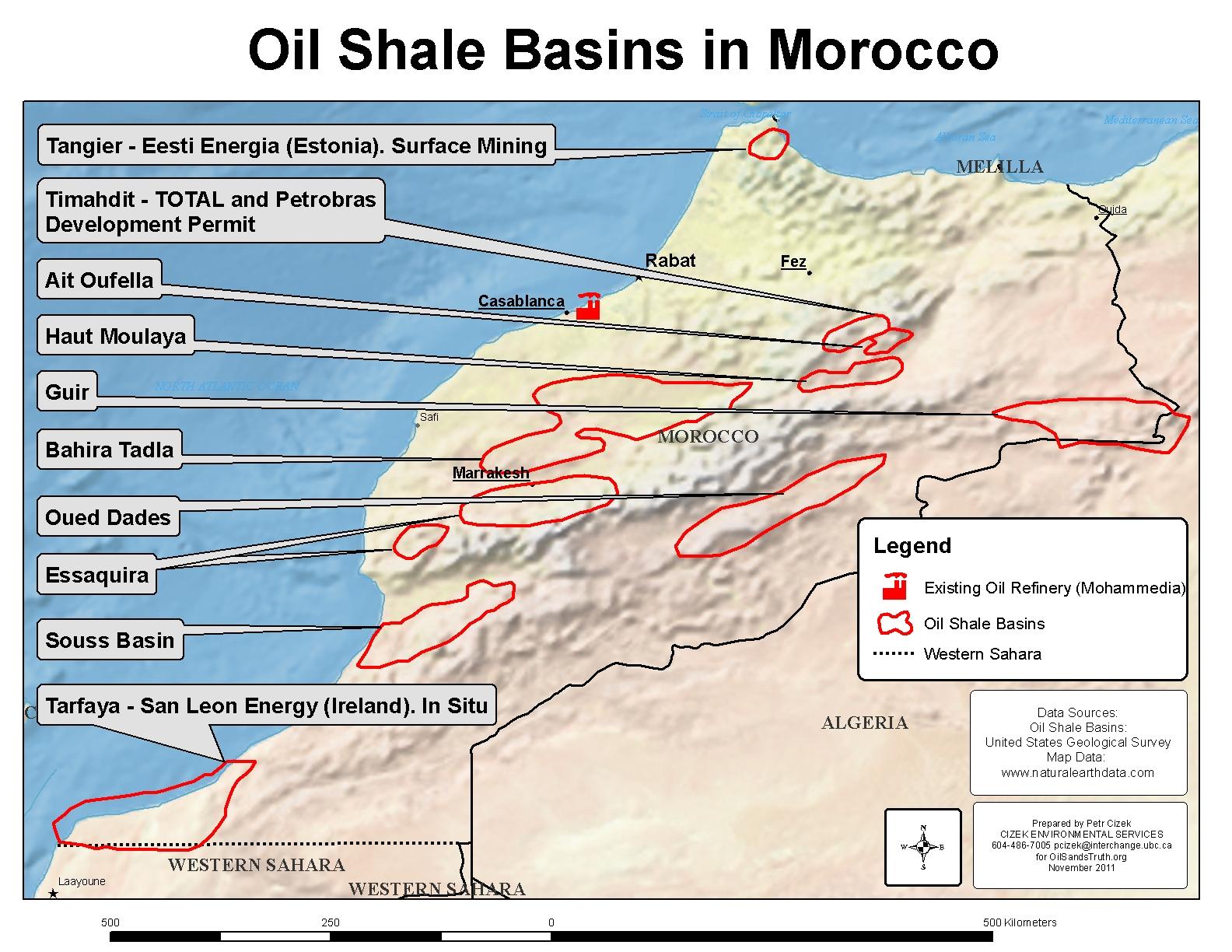Morocco Tar Sands World - Us oil shale map